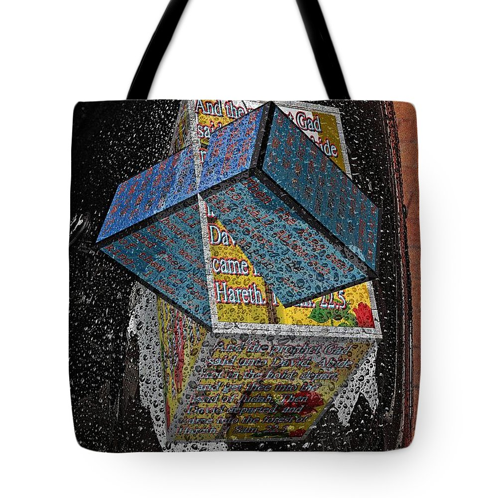 Cars Tote Bag featuring the digital art Antique Car Fender With 3d Text Boxes by Karl Rose