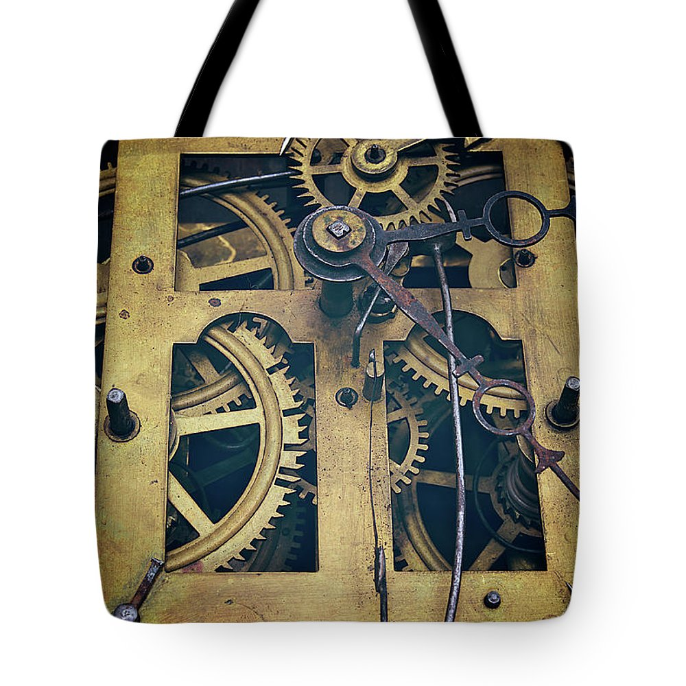 Gear Tote Bag featuring the photograph Antique Clock Gears, Cog And Parts by Melissa Ross