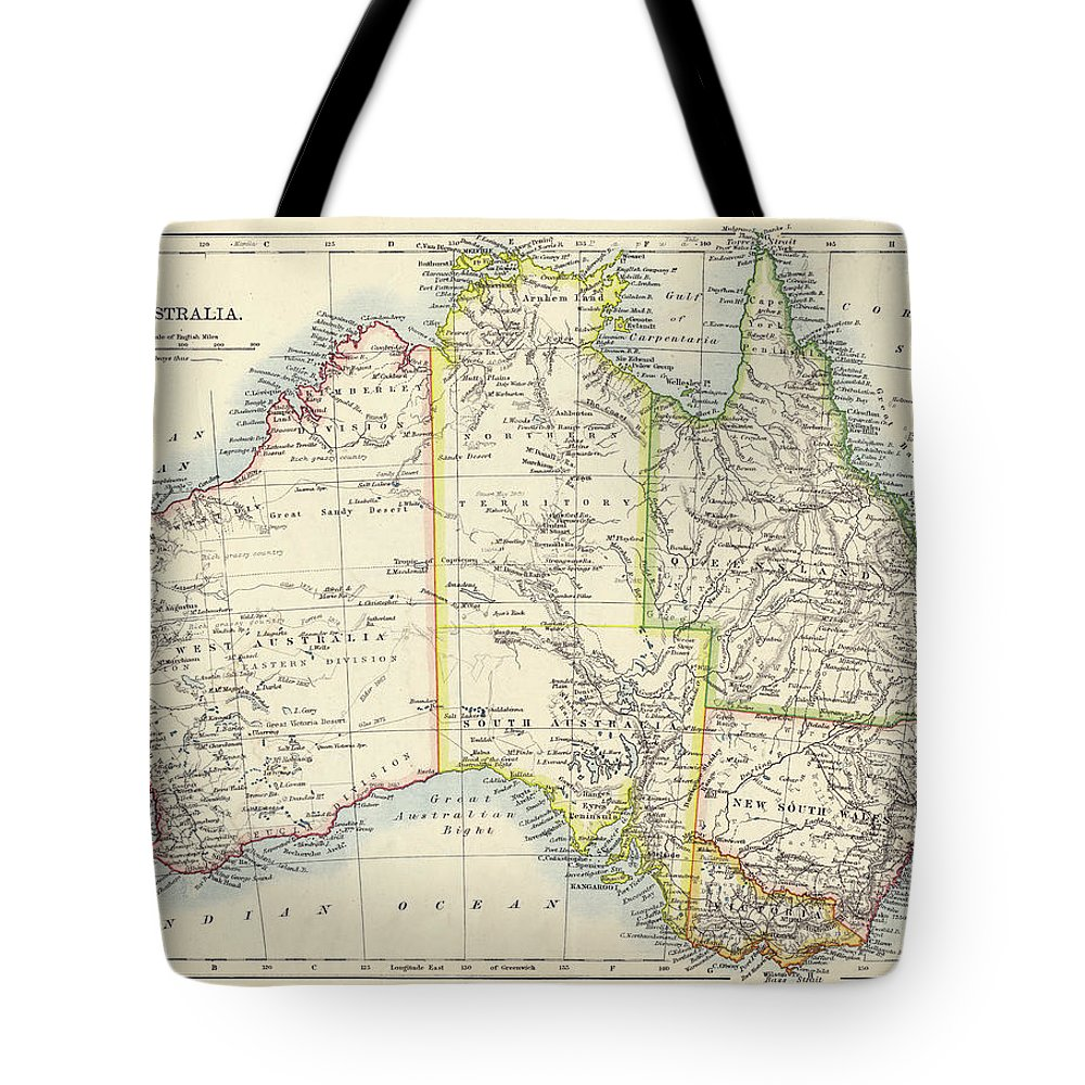 19th Century Style Tote Bag featuring the photograph Antique Map Of Australia by Nicholas Free