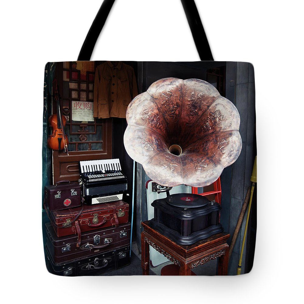 Flea Market Tote Bag featuring the photograph Antique Victrola In Panjiayuan Flea by Design Pics / Keith Levit