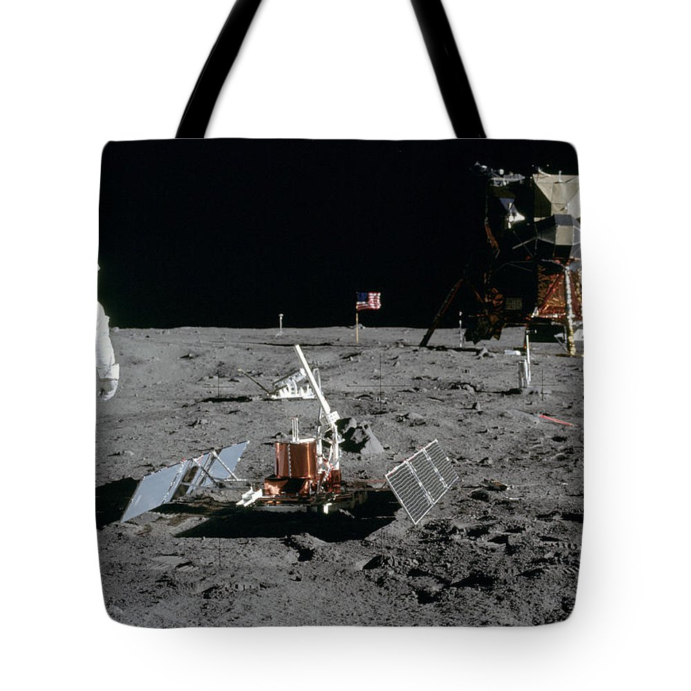 1969 Tote Bag featuring the photograph Apollo 11, Buzz Aldrin Deploys Easep by Science Source