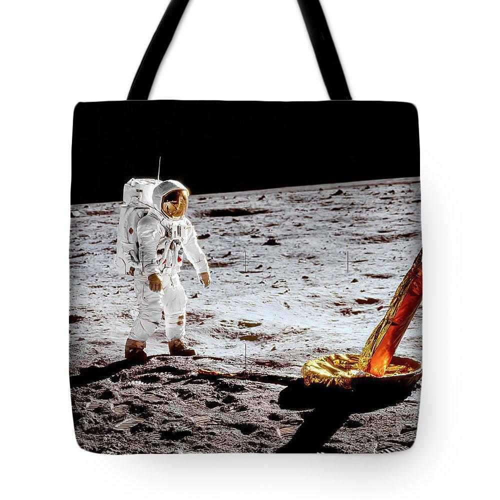 Ed Tote Bag featuring the photograph Apollo 11 - Buzz Aldrin Facing Lunar Module Strut by Nasa