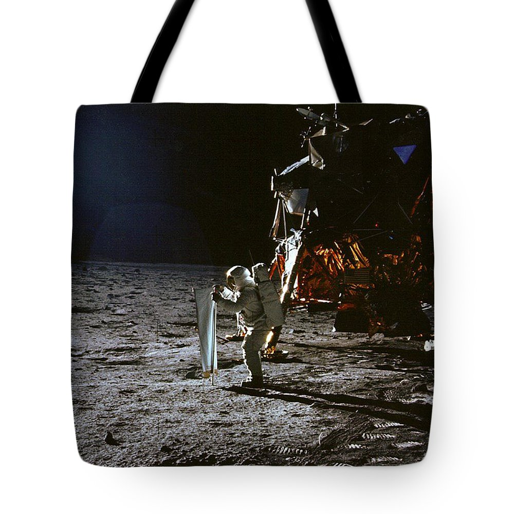 1969 Tote Bag featuring the photograph Apollo 11, Buzz Aldrin, Solar Wind by Science Source
