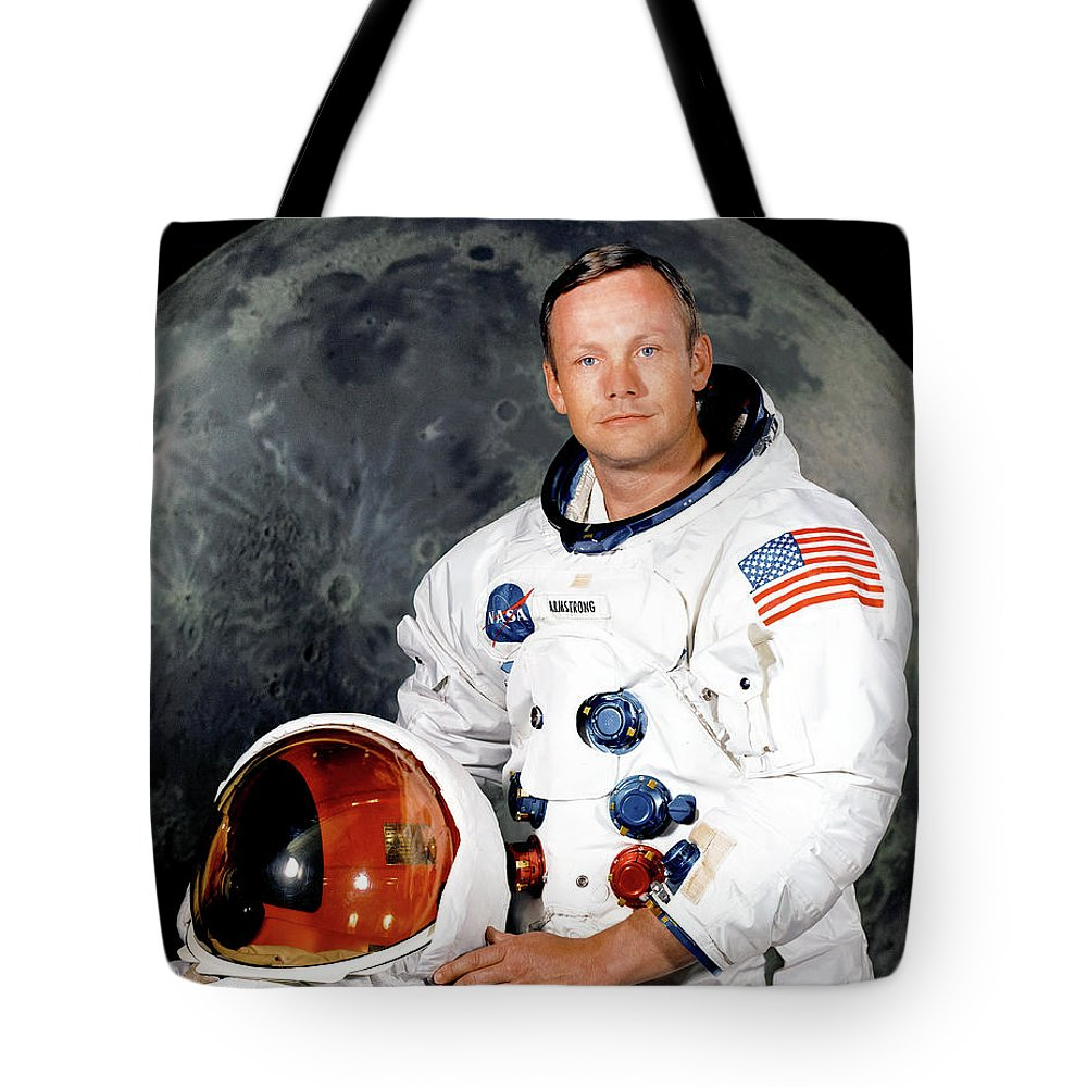 One Small Step Tote Bag featuring the photograph Apollo 11 - Neil Armstrong Portrait by Nasa