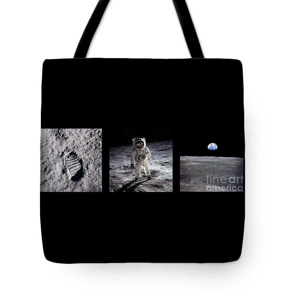 Apollo Tote Bag featuring the photograph Apollo 11 Triptych by Courtesy of NASA