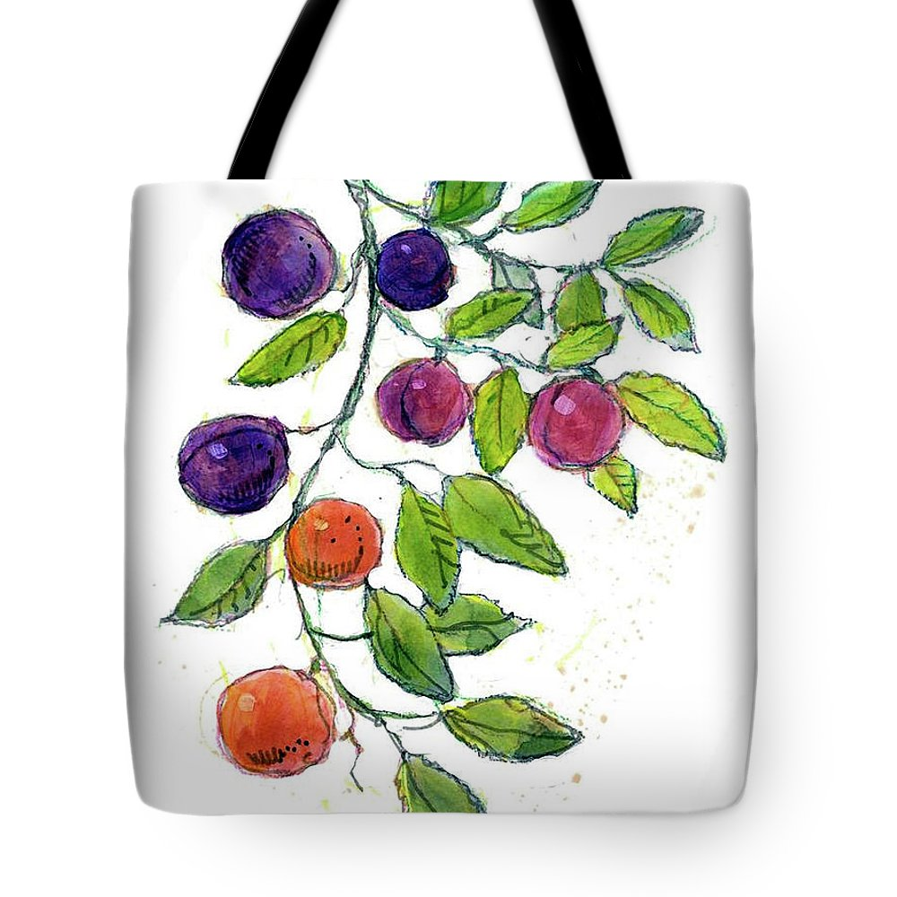 Fruit Watercolor. Fruits Illustration. Fruit Illustration. Fruits Illustrations. Apricot Watercolor. Tote Bag featuring the painting Apricots by Dan Nelson