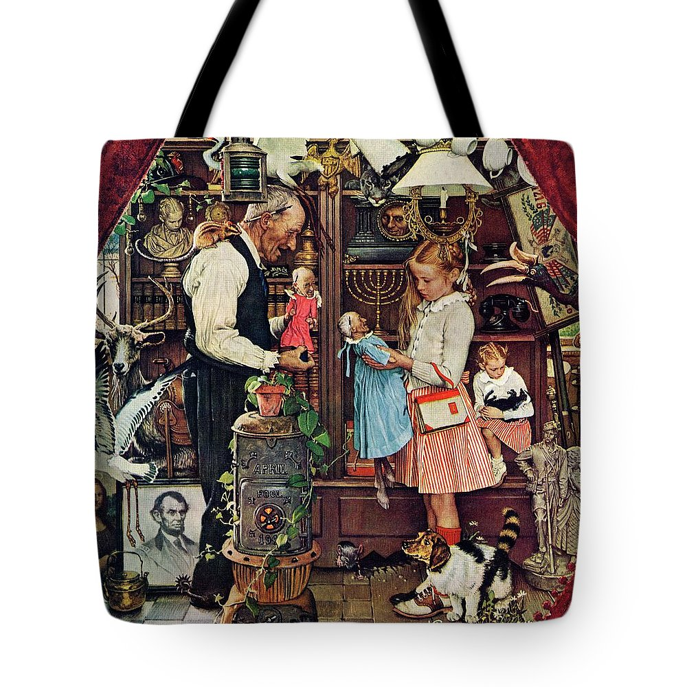 Antiques Tote Bag featuring the drawing April Fool, 1948 by Norman Rockwell