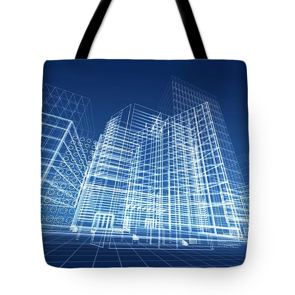 Plan Tote Bag featuring the photograph Architectural Blueprint Designs For by Dinn