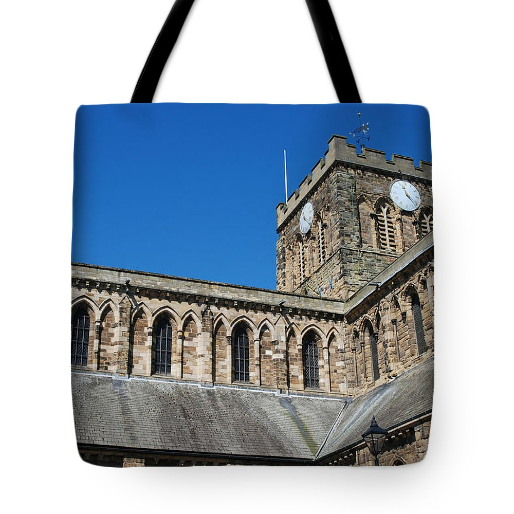 Hexham Tote Bag featuring the photograph architecture of Hexham cathedral and clock tower by Victor Lord Denovan