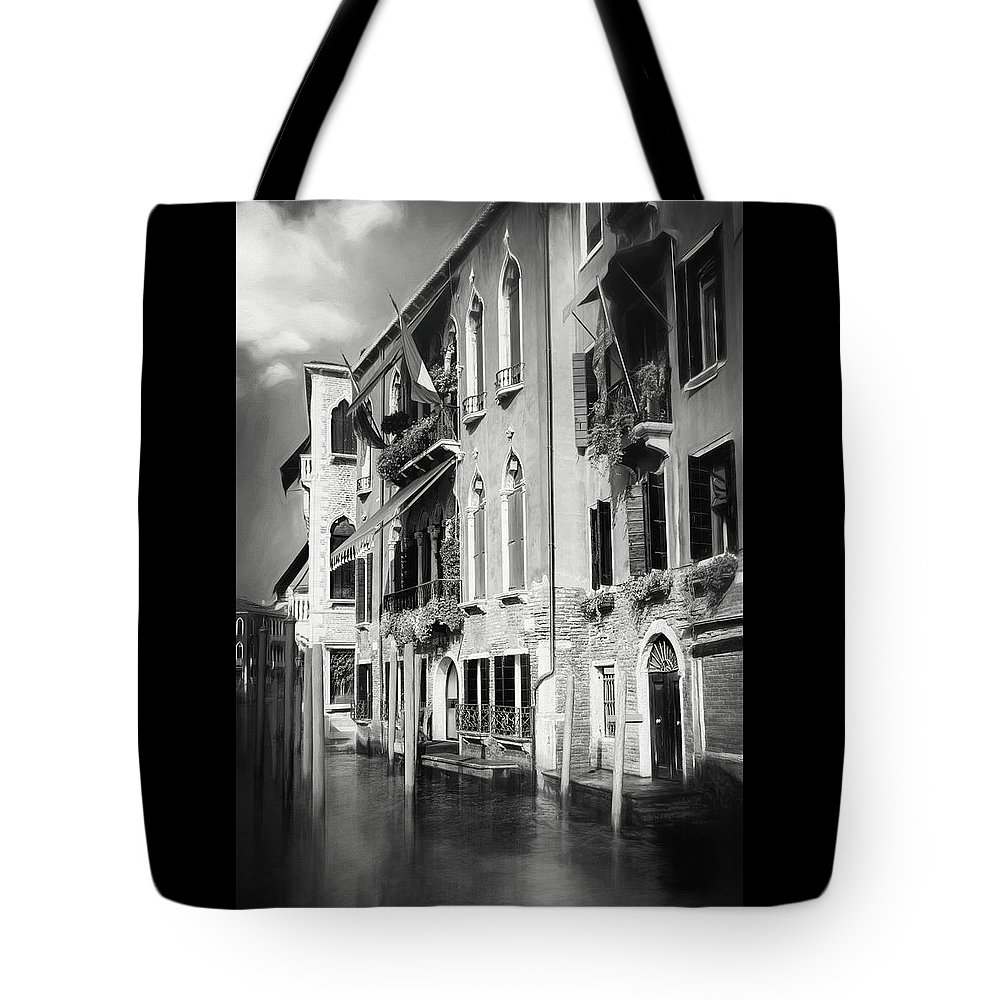 Venice Tote Bag featuring the photograph Architecture Of The Grand Canal Venice Italy Black And White by Carol Japp