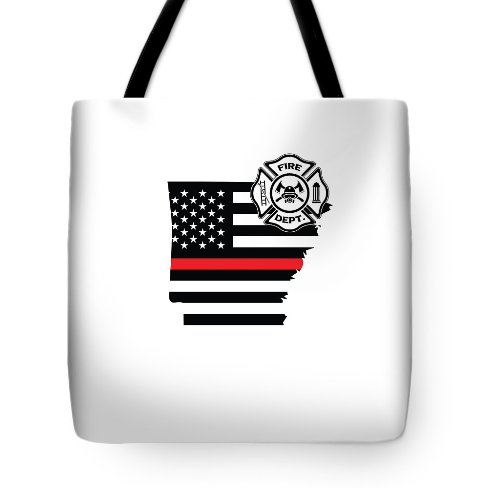Firefighter-appreciation Tote Bag featuring the digital art Arkansas Firefighter Shield Thin Red Line Flag by The French Seller