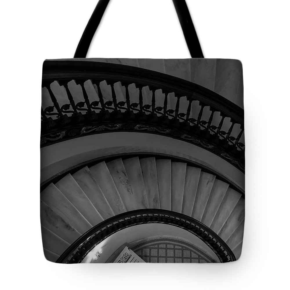 Abstract Tote Bag featuring the photograph Arlington Stairs Layers Grayscale by Jennifer White