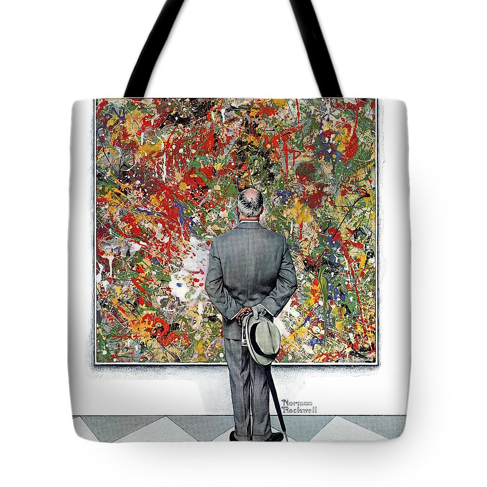 Art Tote Bag featuring the drawing Art Connoisseur by Norman Rockwell