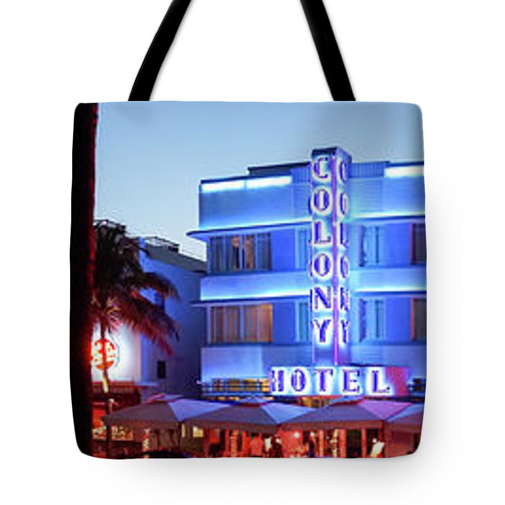 Panoramic Tote Bag featuring the photograph Art Deco Hotels On Ocean Drive At Dusk by Buena Vista Images