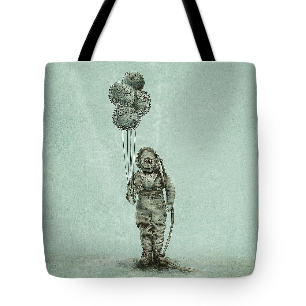 Ocean Tote Bag featuring the drawing Balloon Fish by Eric Fan