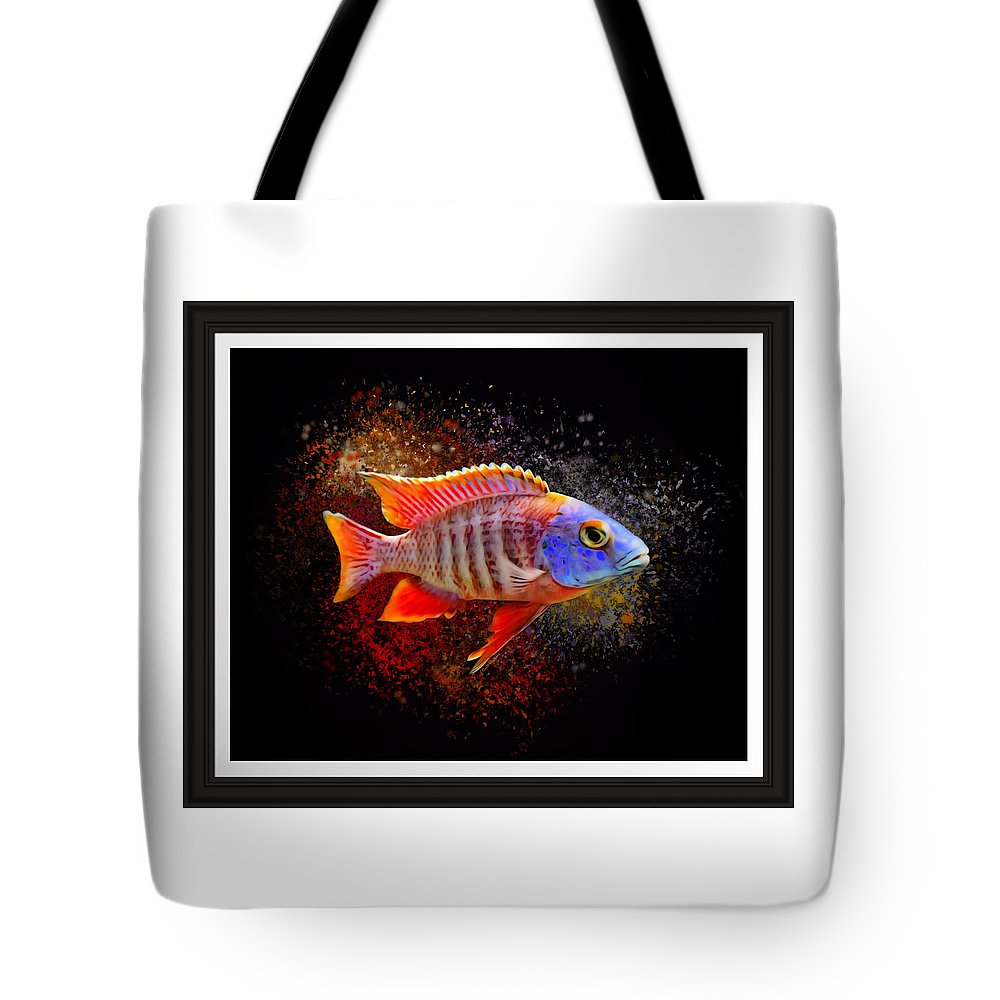 Peacock Cichlid Tote Bag featuring the digital art African Peacock Cichlid III Portrait by Scott Wallace Digital Designs