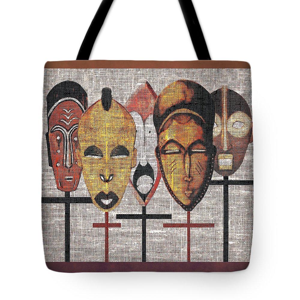 African Masks Tote Bag featuring the digital art Kabila Masks by Regina Wyatt