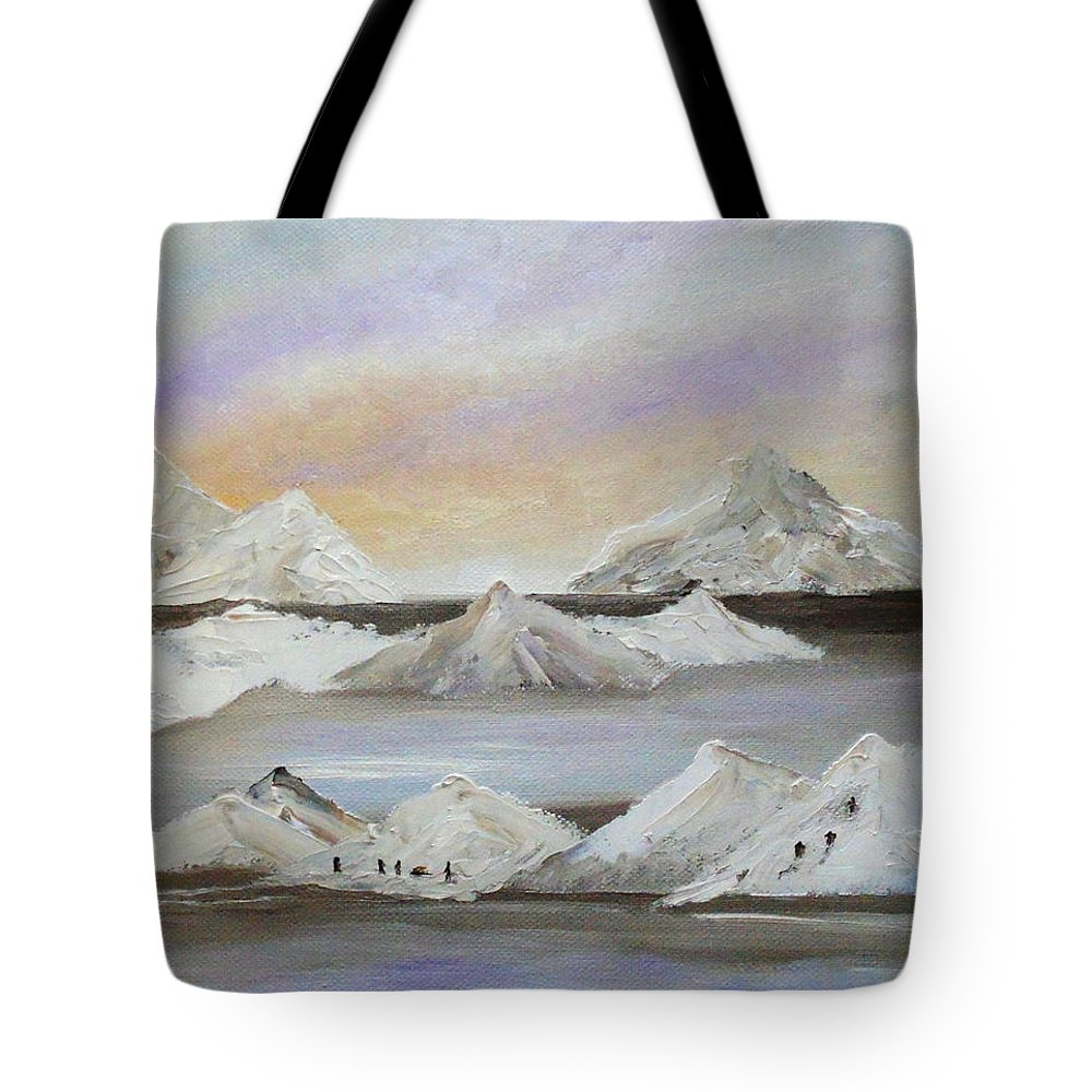 Polar Art Tote Bag featuring the painting North No More by Angeles M Pomata