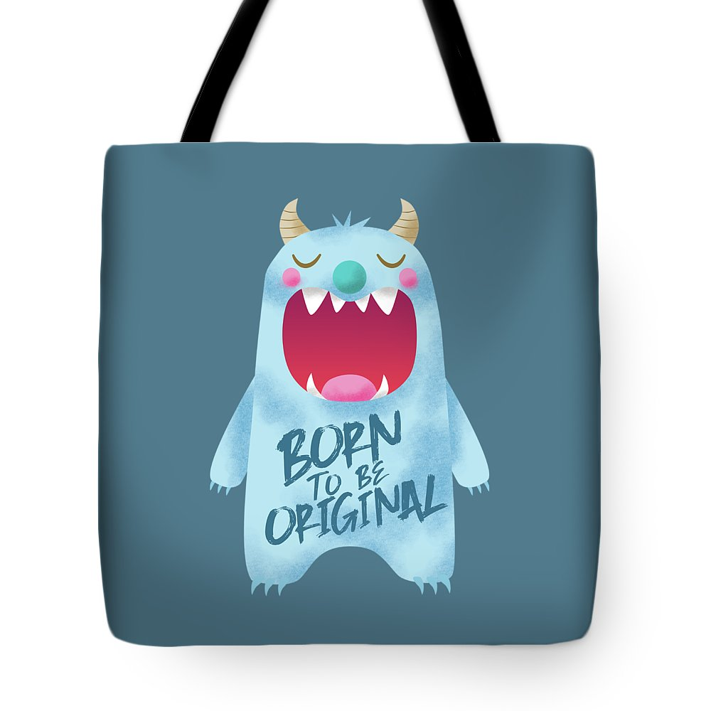 Monster Tote Bag featuring the digital art Born To Be Original Blue Monster by NamiBear
