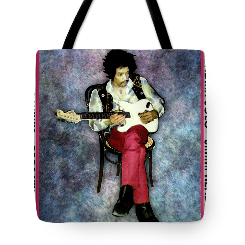 Portraits Tote Bag featuring the digital art Jimi Hendrix Solo by Walter Neal