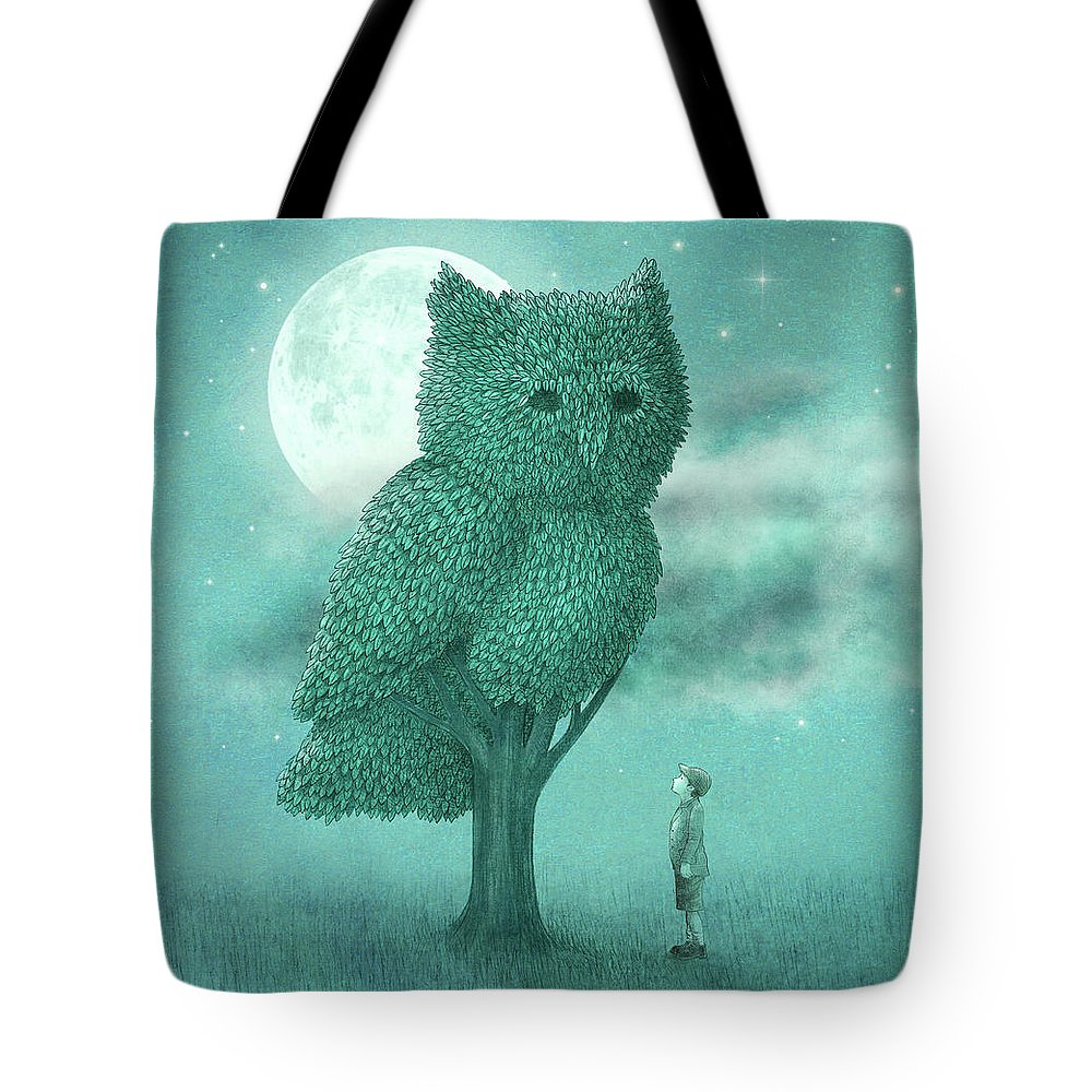 Owl Tote Bag featuring the drawing The Night Gardener by Eric Fan