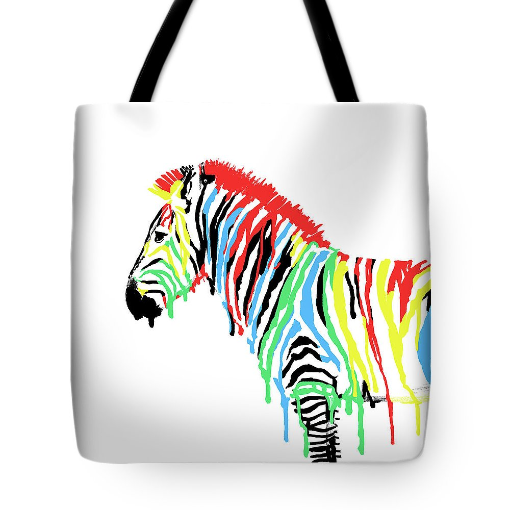 Zebra Tote Bag featuring the drawing Fresh Paint by Eric Fan