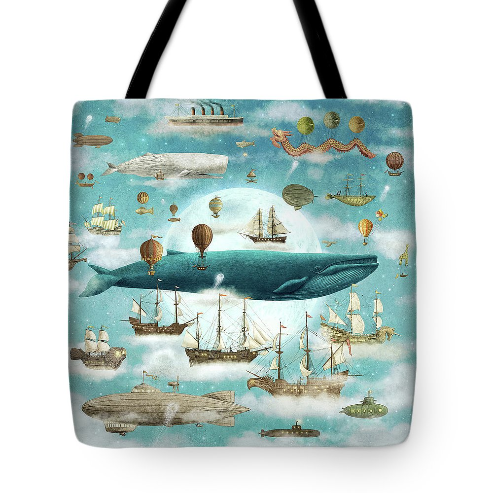 Ocean Tote Bag featuring the drawing Ocean Meets Sky by Eric Fan