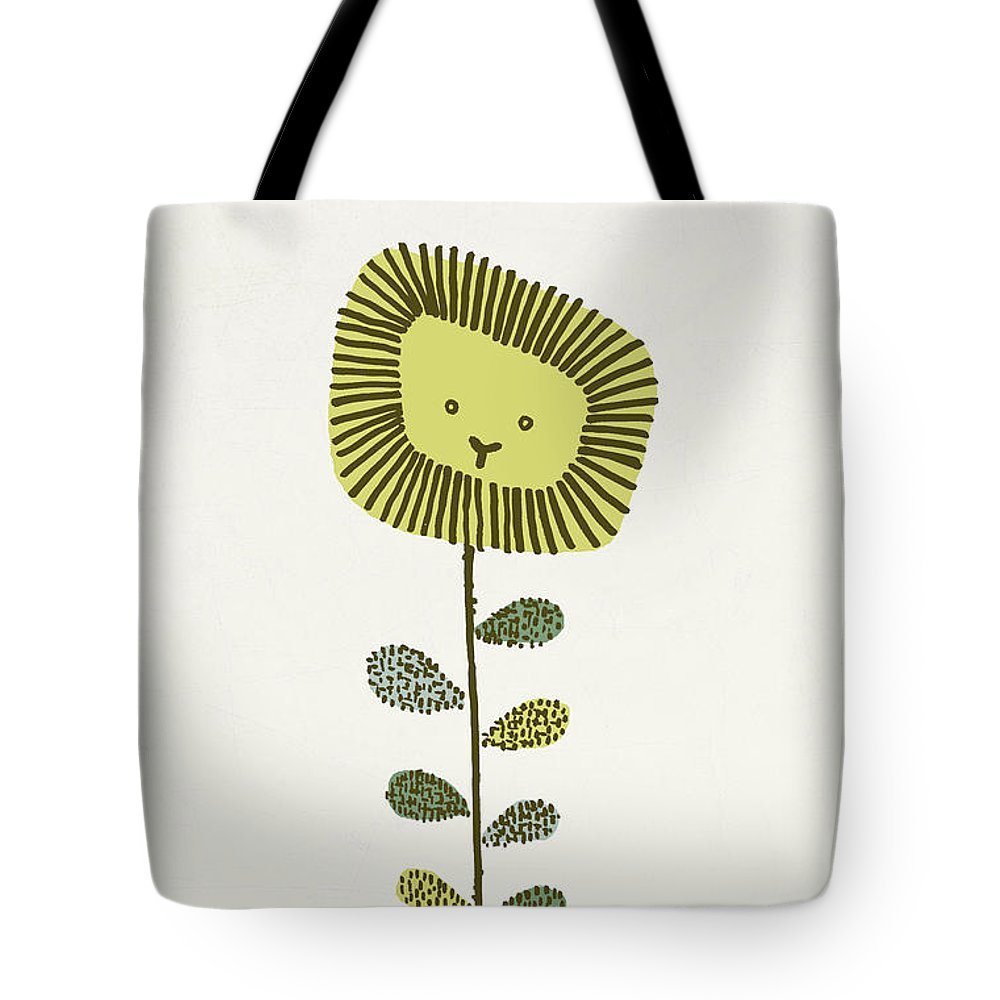 Lion Tote Bag featuring the drawing Dandy by Eric Fan