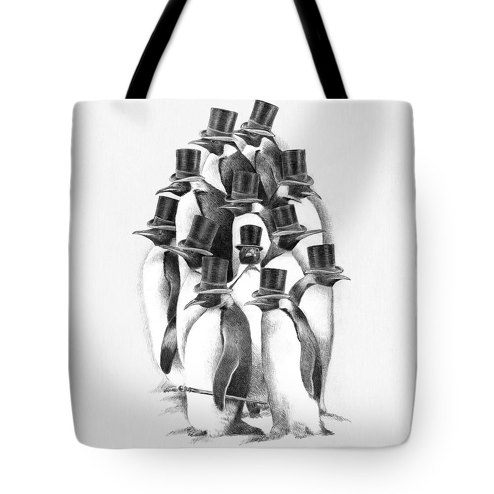 Penguin Tote Bag featuring the drawing Penguin Party by Eric Fan
