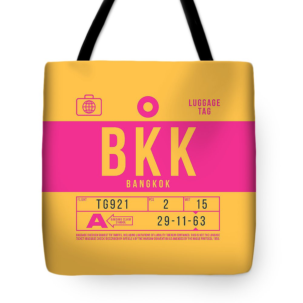 Airline Tote Bag featuring the digital art Retro Airline Luggage Tag 2.0 - Bkk Bangkok Thailand by Ivan Krpan
