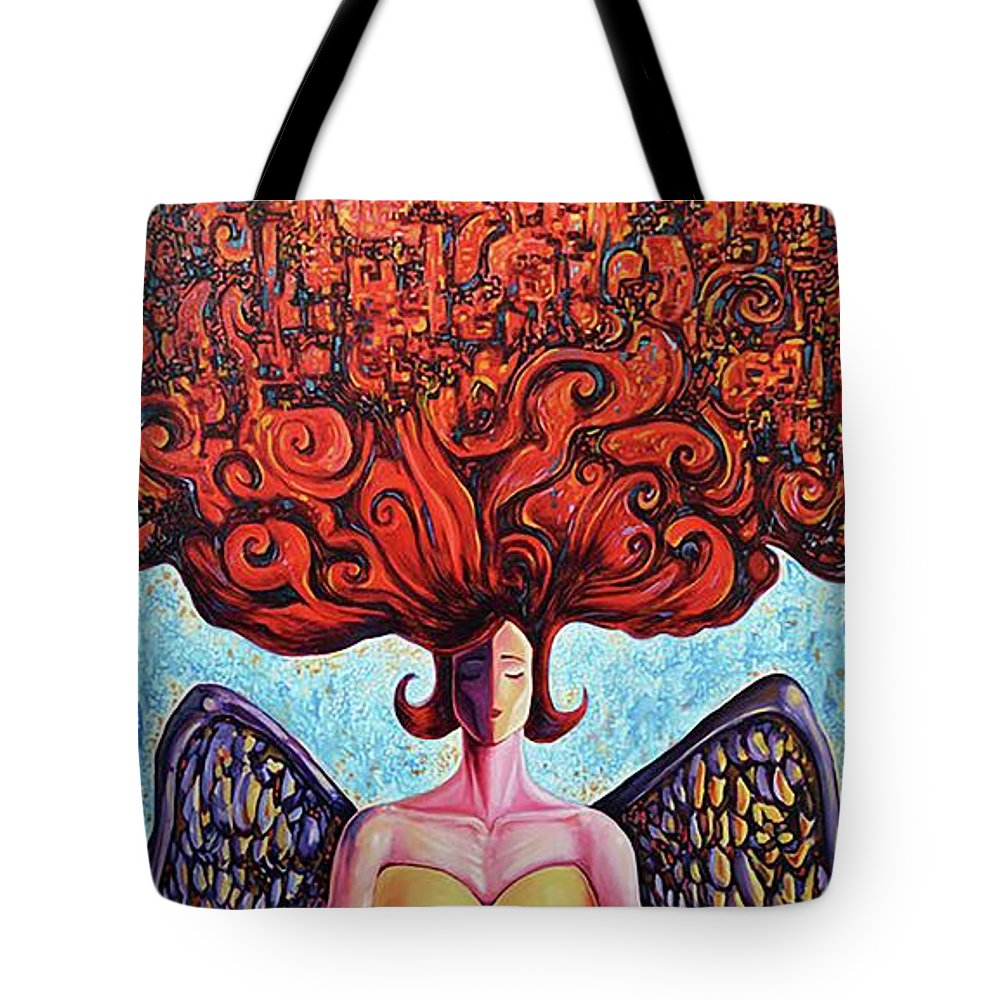 Surrealism Tote Bag featuring the painting As above, so bellow by Darwin Leon