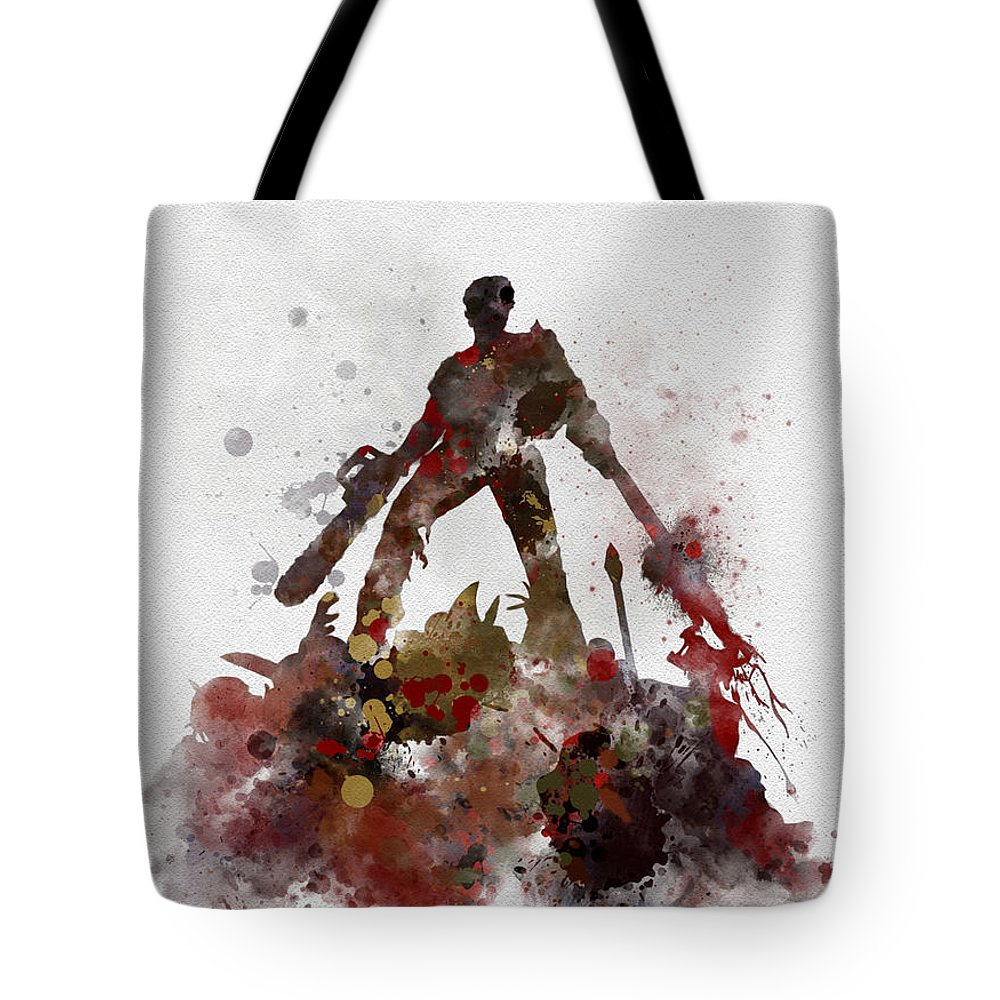 Bruce Campbell Tote Bag featuring the mixed media Ash 2 by Rebecca Jenkins