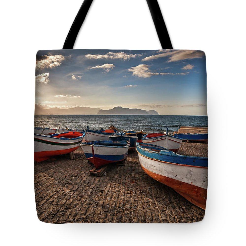 Sicily Tote Bag featuring the photograph Aspra Boatyard by Fabio Montalto
