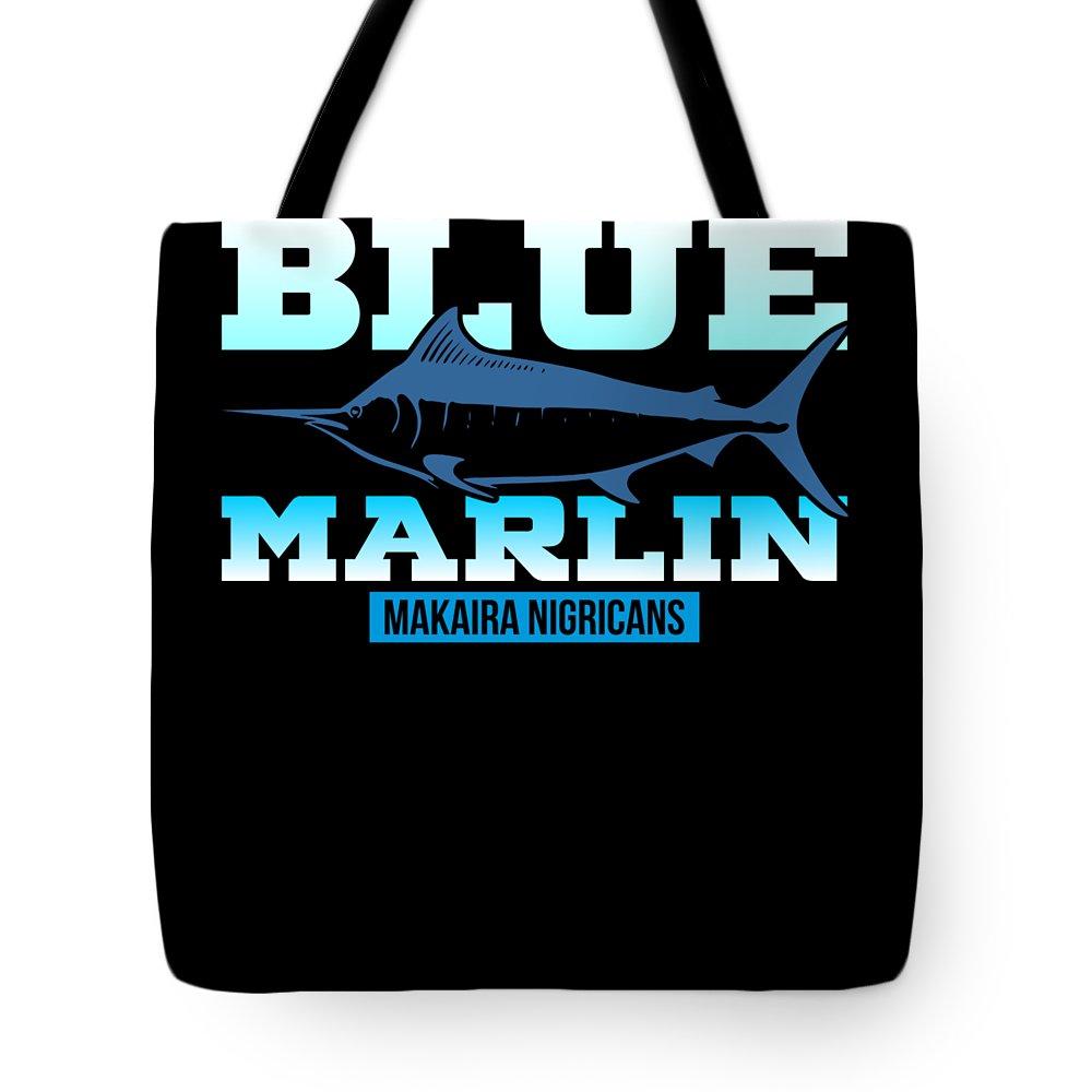Ocean-fisherman Tote Bag featuring the digital art Atlantic Blue Marlin Makaira Nigricans by Passion Loft