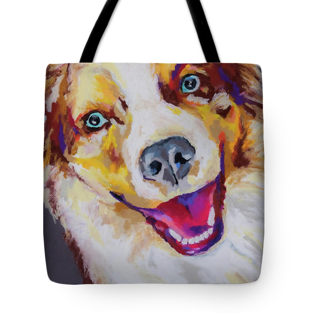 Australian Shepard Tote Bag featuring the painting Aussie by Stephen Anderson