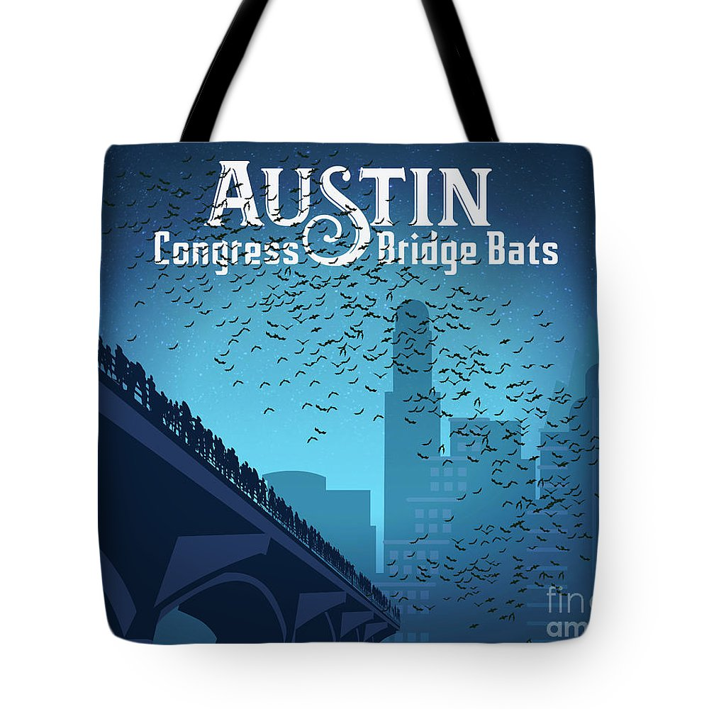 Austin Congress Bridge Bats In Blue Silhouette Tote Bag featuring the digital art Austin Congress Bridge Bats In Blue Silhouette by Austin Welcome Center