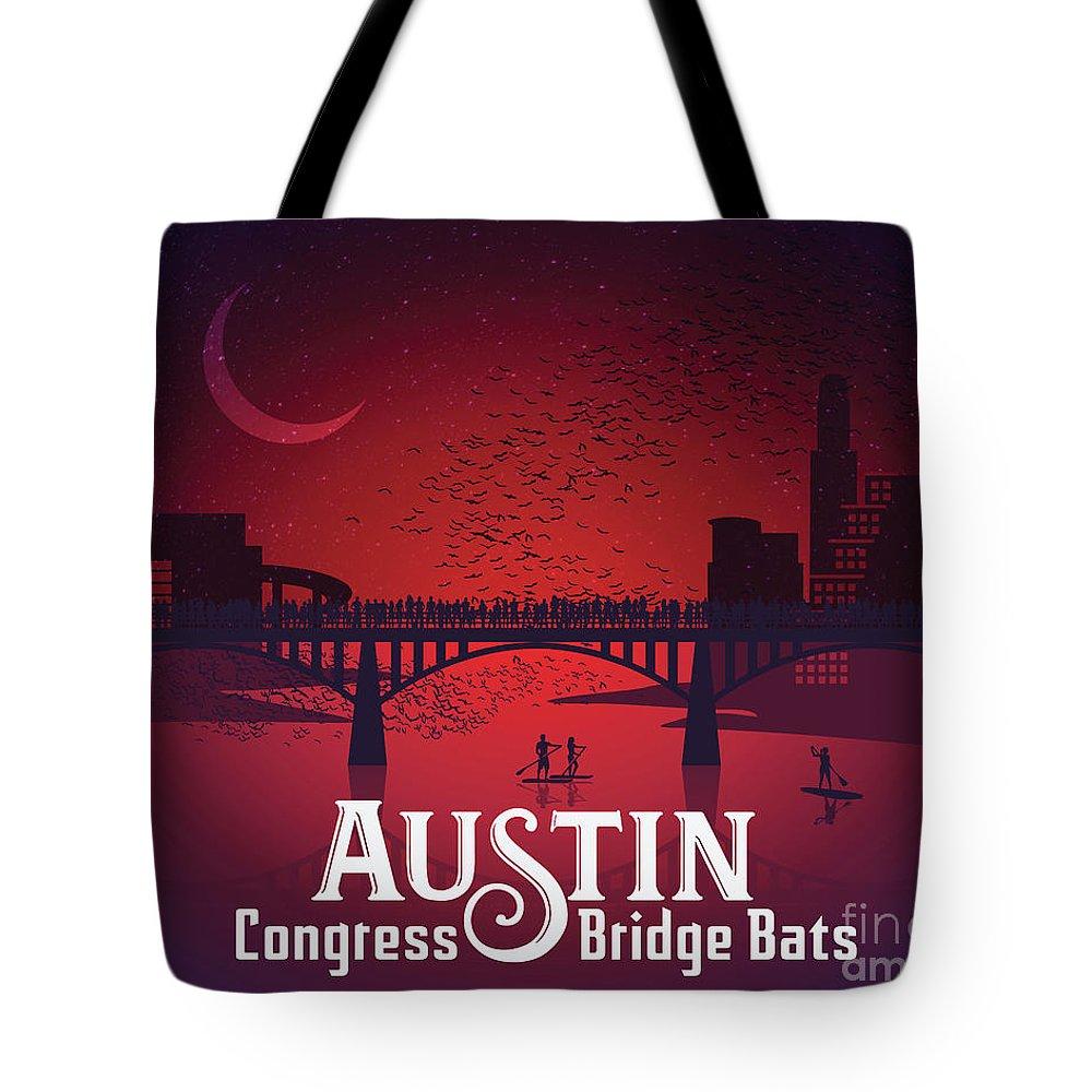 Austin Congress Bridge Bats In Red Silhouette Tote Bag featuring the photograph Austin Congress Bridge Bats In Red Silhouette by Austin Welcome Center