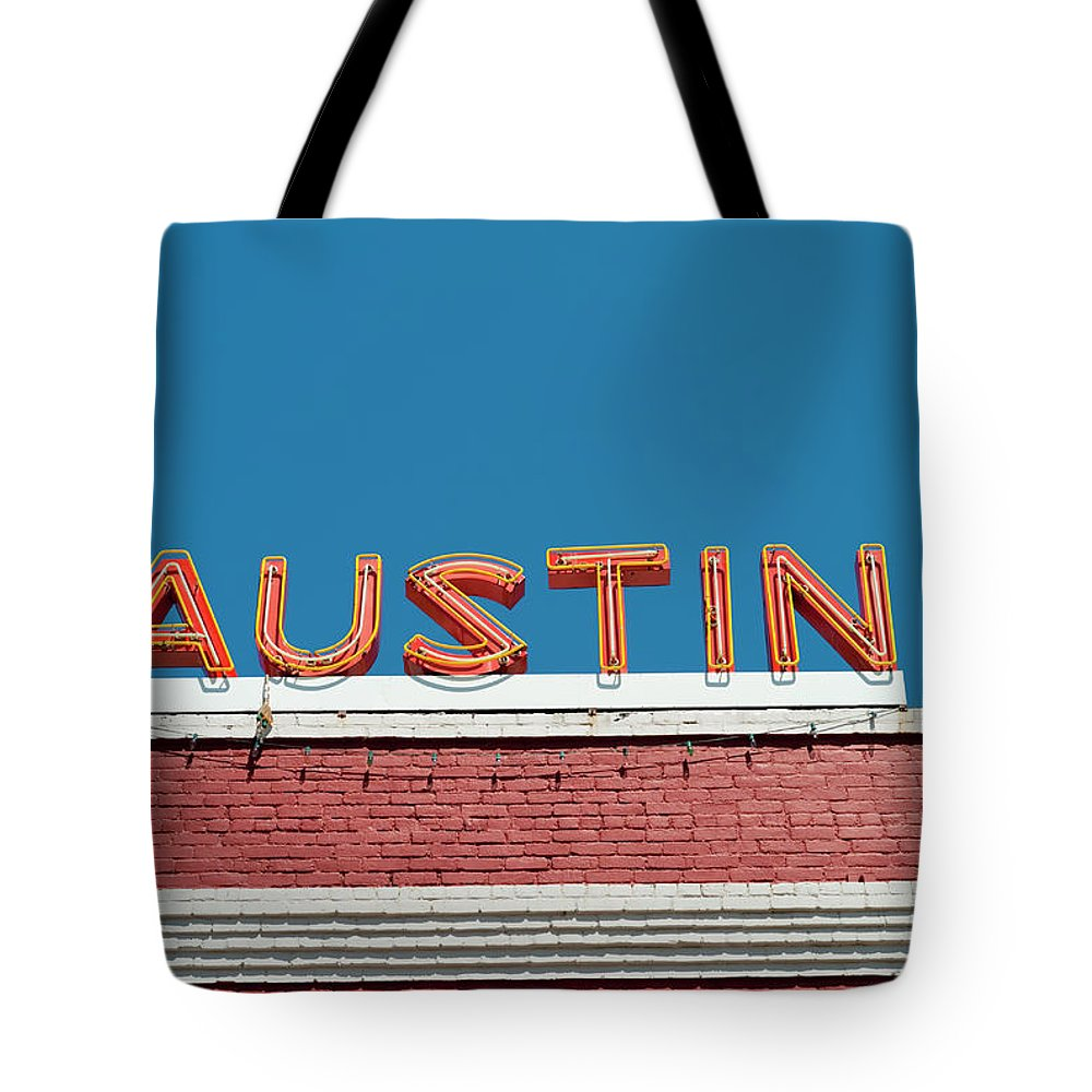Sunlight Tote Bag featuring the photograph Austin Neon Sign by Austinartist