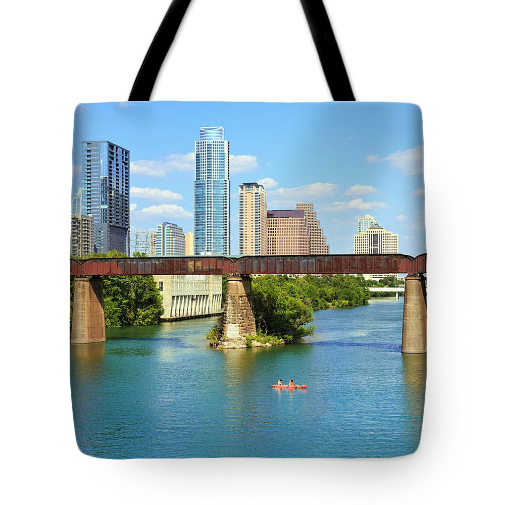 Scenics Tote Bag featuring the photograph Austin Texas Skyline, Colorado River by Dszc