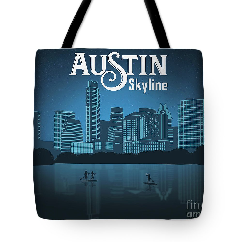 Austin Texas Skyline Tote Bag featuring the painting Austin Texas Skyline by Say Cheese Austin