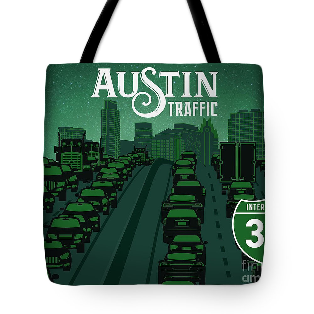 Austin Traffic Tote Bag featuring the painting Austin Traffic by Say Cheese Austin