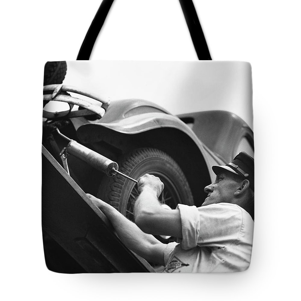 Working Tote Bag featuring the photograph Auto Mechanic Vintage by George Marks
