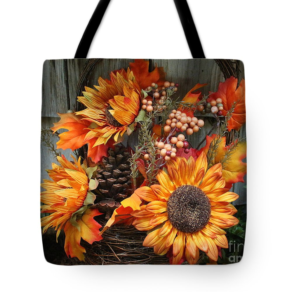 Sunflower Tote Bag featuring the photograph Autumn Bouquet by Dora Sofia Caputo Photographic Design and Fine Art