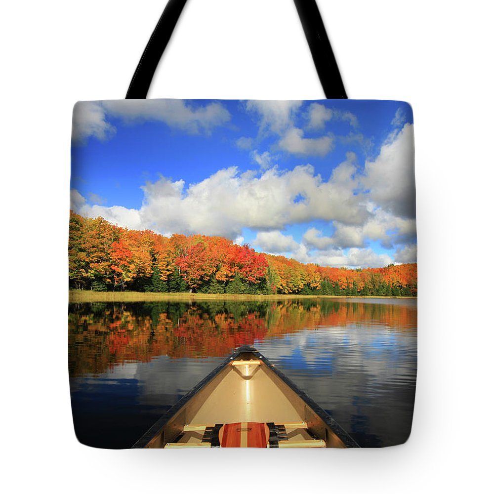 Scenics Tote Bag featuring the photograph Autumn In A Canoe by Photos By Michael Crowley