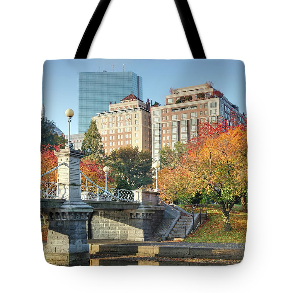 Downtown District Tote Bag featuring the photograph Autumn In Boston by Denistangneyjr