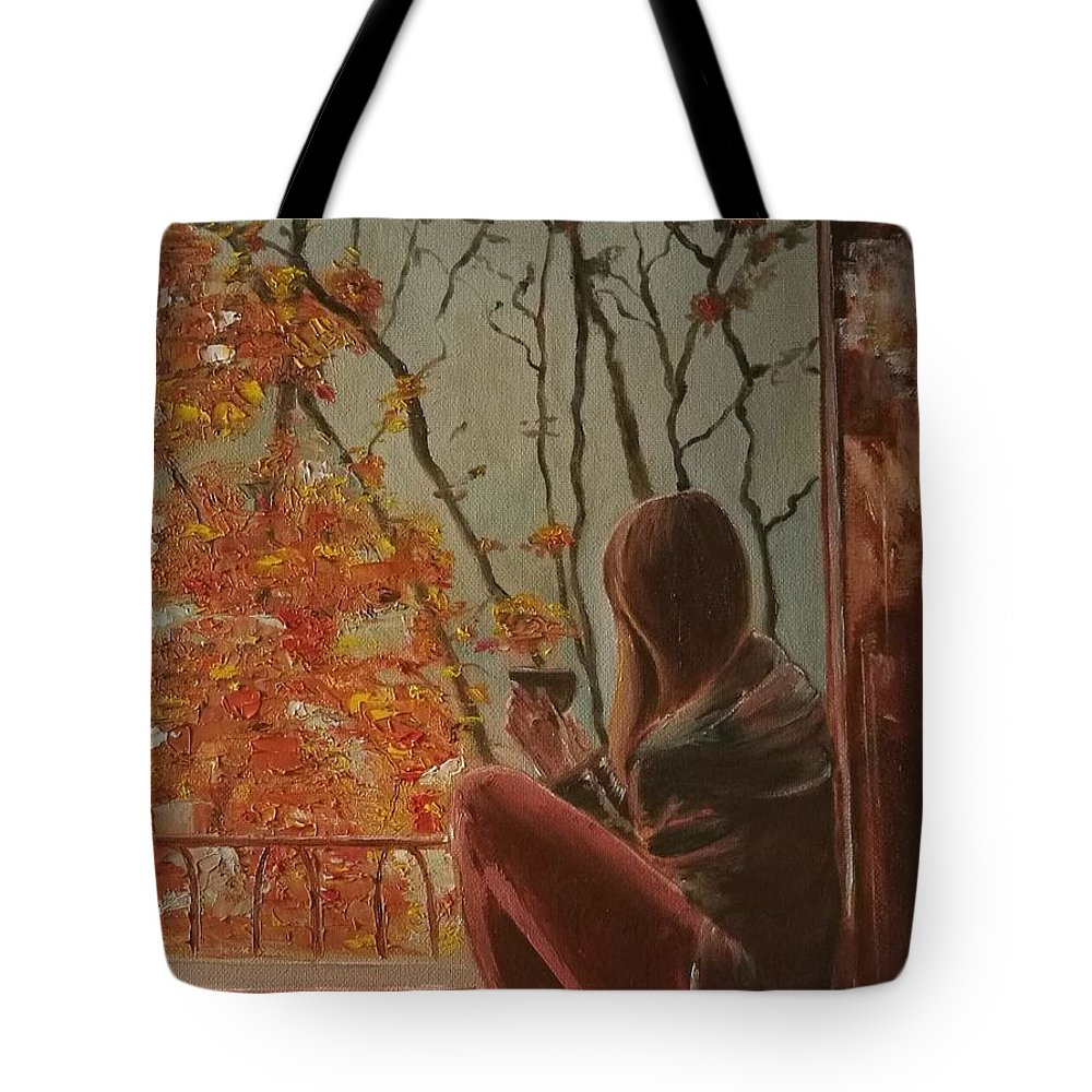 Autumn Tote Bag featuring the painting Autumn In Paris by Olga Lebedeva