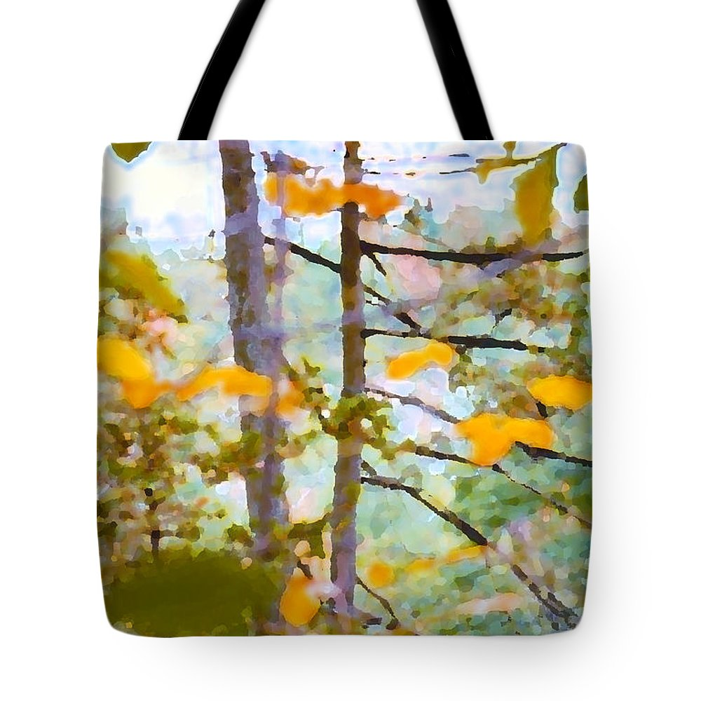 Autumn Tote Bag featuring the digital art Autumn Leaves by Geoff Jewett