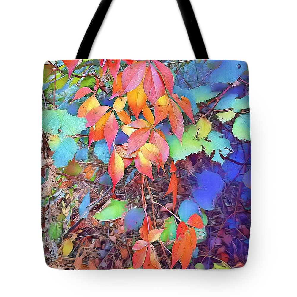 Autumn Tote Bag featuring the digital art Autumn Leaves by Paola Baroni