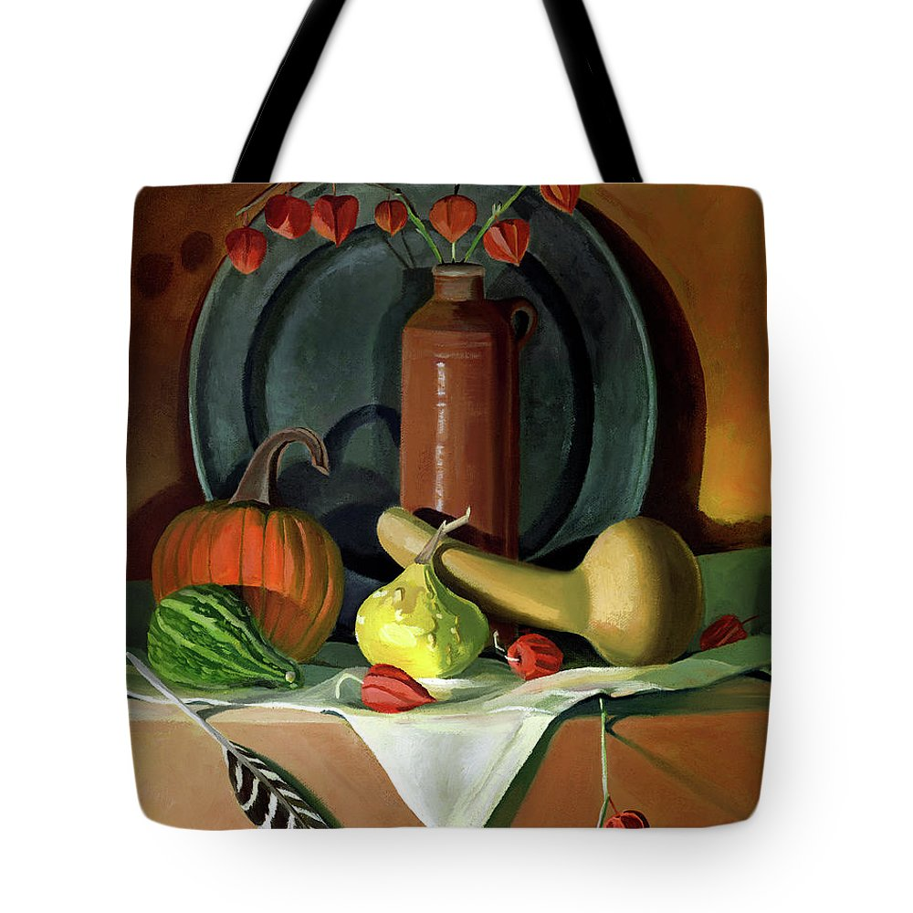 Still Life Tote Bag featuring the painting Autumn Still Life by Nancy Griswold