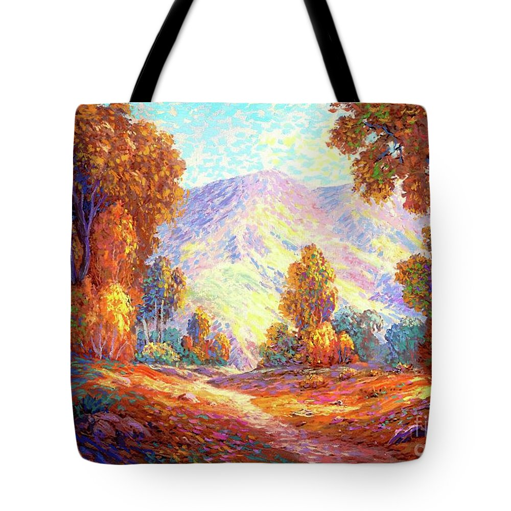 Woodland Tote Bag featuring the painting Autumn Sunshine by Jane Small